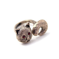 Cat ring, kitty ring, retro style ring, kitty charm with red eye, wedding jewelry, gift for girlfriend, Christmas gift.