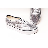 Silver Starlight Sequin Authentic Platform Sneakers