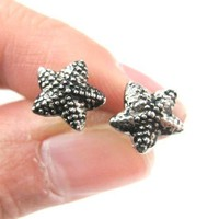 Small Textural Starfish Star Shaped Stud Earrings in Silver | DOTOLY