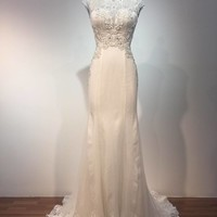 10995 F - cap sleeve wedding dresses with embroidered bodices
