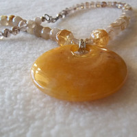 Sunny Day. Citrine Necklace,Rutalated Quartz Necklace, For Her, Fabulous Gemstone
