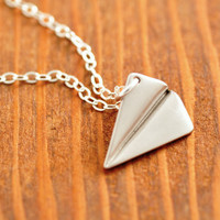 Airplane Necklace - silver plane necklace, origami necklace, paper plane necklace, silver airplane, 3d, sterling necklace