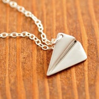 Airplane Necklace - origami necklace, silver plane necklace, paper plane necklace, silver airplane, 3d, sterling necklace