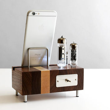 LED dock for iPhone 6/6 Plus Samsung Galaxy handcrafted butcher block from walnut wood with triple electron tubes
