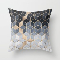 Soft Blue Gradient Cubes Throw Pillow by Elisabeth Fredriksson