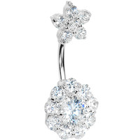 Sterling Silver 925 Crystalline Cubic Zirconia Double FLOWER Belly Ring | Body Candy Body Jewelry