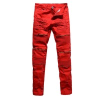 Men's red white black holes ripped pleated men biker jeans moto Casual slim stretch Knee zipper skinny denim pants dropshipping