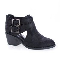 ScribeIIS Black Pu By Soda, Children's Girls Cut Out Multi Strap Faux Wooden Heel Ankle Boots