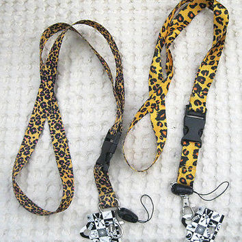 "Two Different Brown Leopard Animal Print Design 15"" lanyards Combo-New With Tags"