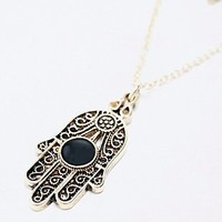 Hamsa and Stone Layering Necklace in Gold - Urban Outfitters
