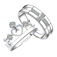 Prince Princess Lover Silver Couple Rings Wedding Band His and Her Promise Ring