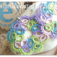 Summer colours Hand tatted earrings 'Lavender' -Frees shipping-