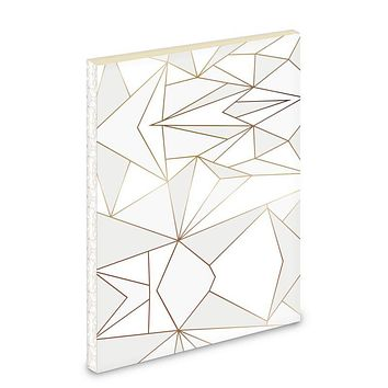 Abstract White Polygon with Gold Line Pocket Notebook by The Photo Access