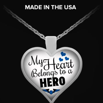 My Heart Belongs To A Police Officer Hero Necklace