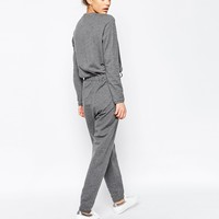 ASOS Jumpsuit with Long Sleeves and Drawstring Waist in Sweat at asos.com