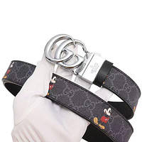 GG leather belt with decorative leather belt casual collocation G buckle trouser belt Silvery