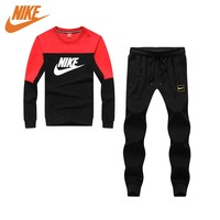 Nike fashion round neck long sleeve suit black and blue