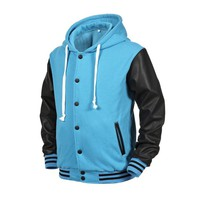 Angel Cola Mint Blue Hoodie Varsity Cotton & Synthetic Leather Letterman Jacket