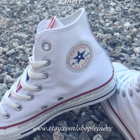 Reconstructed Converse Chuck Taylor High Top with Custom American Flag Design Embellished with Real Swarovski Crystals, 4TH OF JULY