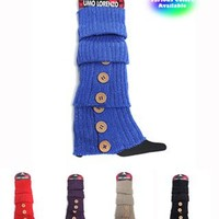 Ladies' Solid Color Knit Leg Warmers with Button Accents