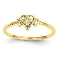 14K Peridot Birthstone Heart Ring