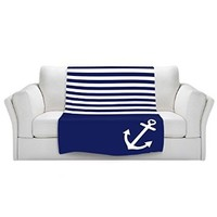 Blankets Ultra Soft Fuzzy Fleece 4 SIZES! from DiaNoche Home Decor Unique Designer Artistic Stylish BedroomCouch or Throw Blankets by Organic Saturation - Navy Blue Love Anchor Nautical