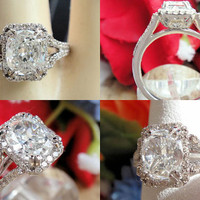 1.42CT Cushion Diamond Pave Halo Engagement Ring EGL Certified and Appraised
