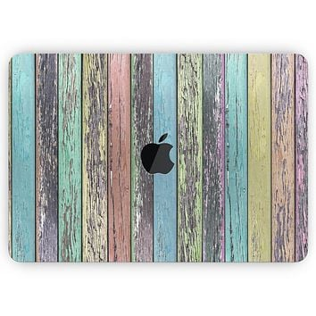"""Chipped Pastel Paint on Wood - Skin Decal Wrap Kit Compatible with the Apple MacBook Pro, Pro with Touch Bar or Air (11"""", 12"""", 13"""", 15"""" & 16"""" - All Versions Available)"""