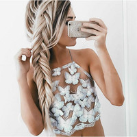 Feitong New Halter Transparent Bustier Crop Top Lace up Backless Lace Tank Top Elegant Gauze Sequin 3d Butterfly Club Camis