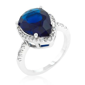 Della 6ct Sapphire Pear Halo Cocktail Ring | 7ct