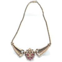 Vintage Elegant Rhinestone Necklace, Pink And Clear Stones