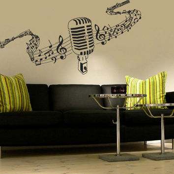 Wall Decal Vinyl Sticker Decals Art Decor  Microphone Mic Melody Notes Song Singer Juzz Bedroom Dorm Lounge Kids Sound Living room ( r750)