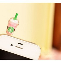 Starbucks Style Anti-Dust Earphone Jack for iPhone 4 and 4S (Pink)