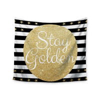 "Richard Casillas ""Stay Golden "" Black Gold Wall Tapestry"