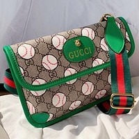 GUCCI New Fashion More Letter Print Leather Shoulder Bag Cossbody Bag Green