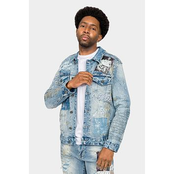 Collage Patch Faded Denim Jacket