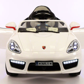 SPORT COUPE KIDS RIDE ON TOY CAR WITH PARENTAL CONTROL   WHITE