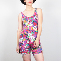 Vintage 80s Romper New Wave Floral Print Bodycon Playsuit 1980s Romper Bicycle Shorts Bodysuit One Piece Jumper Stretch Shortalls S Small M