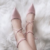 Liza Lace Up Pointed Toe Pumps 3 Colors