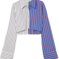 Off-White - Cropped striped cotton-twill shirt