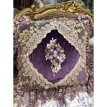 Romantic Victorian Royal Purple Cameo Lace Rose Adorned Square Pillow