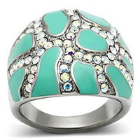 River Run - FINAL SALE Artistic Strength Of Craftsmanship Stainless Steel and Turquoise Epoxy Inlays Comfort Fit Ring