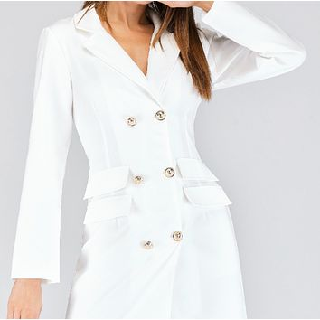 Ladies Hot Sale Hot Sale Double Breasted Suit Fabric Jacket Dress