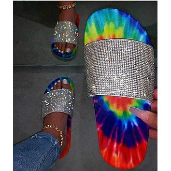 Flat bottom slippers rhinestone color women's shoes foreign trade sandals