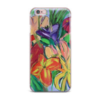 "Cathy Rodgers ""Matisse Styled Lillies"" Rainbow Flower iPhone Case"