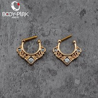 BODY PUNK Nose Septum Ring 14G/16G Clicker Indian Nose Rings Piercing Real Jewelry Nose Hoop Rings Nose Earrings and studs