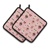 Cupcakes on Pink Pair of Pot Holders BB7280PTHD