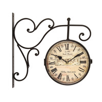 "Furnistar Brown Antique Look Wall Clock ""Botanique"""