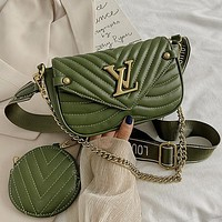 Louis Vuitton LV Two-Piece Set Classic Mini Coin Purse Chain Bag Fashion Ladies One Shoulder Messenger Bag