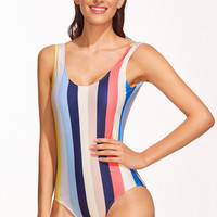 Multicolor Open Back Vertical Stripe One-Piece Swimwear